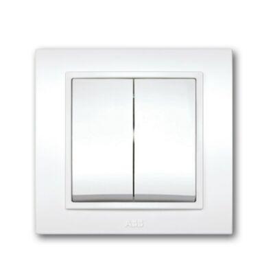 Ilustrație: ABB DUET întrarupător dublu alb cu ramă 639010200202