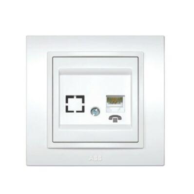Ilustrație: ABB DUET priză telefon RJ11 alb cu ramă 639010200221