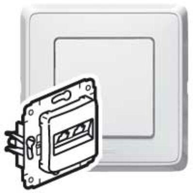 Ilustrație: Cariva priza UTP+telefon alb RJ45+RJ11 fara rama 773640