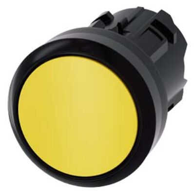Ilustrație: Siemens Pushbutton, 22 mm, round, plastic, yellow, pushbutton, flat, momentary contact type