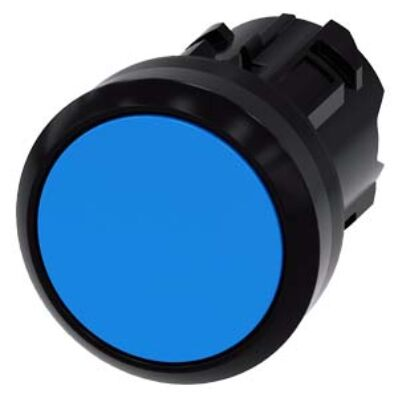 Ilustrație: Siemens Pushbutton, 22 mm, round, plastic, blue, pushbutton, flat, momentary contact type