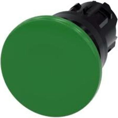 Ilustrație: Siemens Mushroom pushbutton, 22 mm, round, plastic, green, 40 mm, momentary contact type