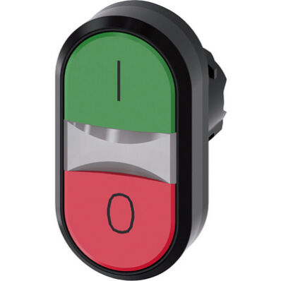 Ilustrație: Siemens Twin pushbutton, 22 mm, round, plastic, green: I, red: O, pushbuttons, flat