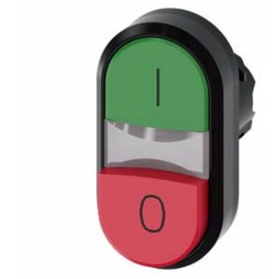 Ilustrație: Siemens Twin pushbutton, 22 mm, round, plastic, green: I, red: O, pushbuttons, flat and raised