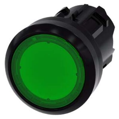 Ilustrație: Siemens Illuminated pushbutton, 22 mm, round, plastic, green, pushbutton, flat momentary contact type