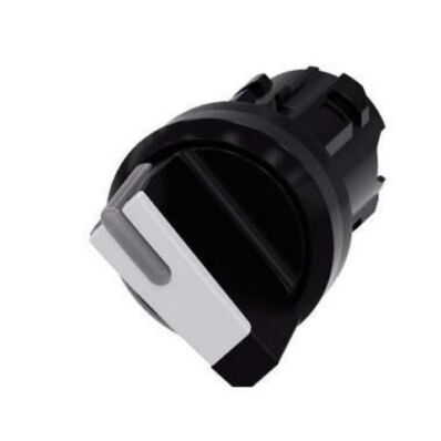 Ilustrație: Siemens Selector switch, illuminable, 22 mm, round, plastic, white, selector switch, short, 2 switch positions O-I, latching, actuating angle 90°, 10:30h/13:30h