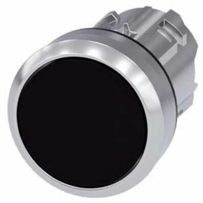 Ilustrație: Siemens Pushbutton, 22 mm, round, metal, shiny, black, pushbutton, flat momentary contact type