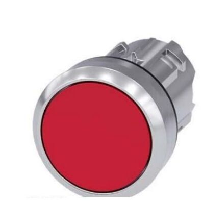 Ilustrație: Siemens Pushbutton, 22 mm, round, metal, shiny, red, pushbutton, flat momentary contact type