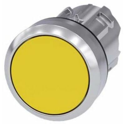 Ilustrație: Siemens Pushbutton, 22 mm, round, metal, shiny, yellow, pushbutton, flat momentary contact type