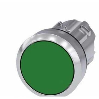 Ilustrație: Siemens Pushbutton, 22 mm, round, metal, shiny, green, pushbutton, flat momentary contact type
