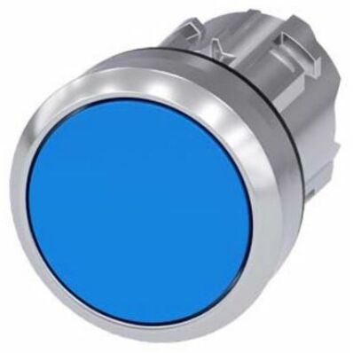 Ilustrație: Siemens Pushbutton, 22 mm, round, metal, shiny, blue, pushbutton, flat momentary contact type