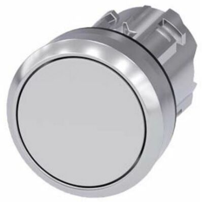 Ilustrație: Siemens Pushbutton, 22 mm, round, metal, shiny, white, pushbutton, flat momentary contact type
