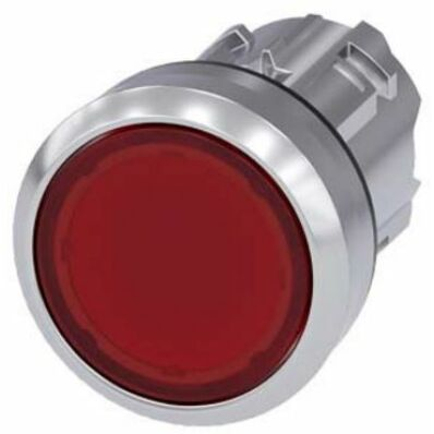 Ilustrație: Siemens Illuminated pushbutton, 22 mm, round, metal, shiny, red, pushbutton, flat, momentary contact type