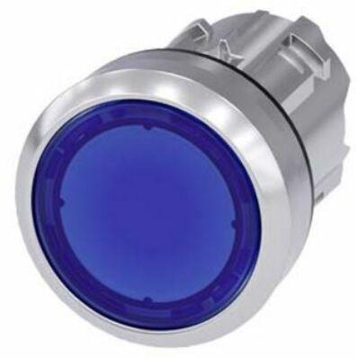 Ilustrație: Siemens Illuminated pushbutton, 22 mm, round, metal, shiny, blue, pushbutton, flat, momentary contact type
