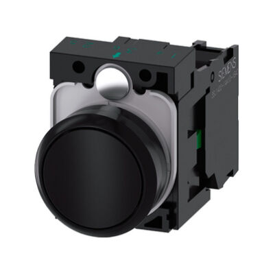 Ilustrație: Siemens Pushbutton, 22 mm, round, plastic, black, pushbutton, flat, momentary contact type, with holder, 1 NO, screw terminal