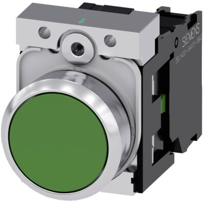 Ilustrație: Siemens Pushbutton, 22 mm, round, plastic, green, pushbutton, flat, momentary contact type, with holder 1 NC, screw terminal