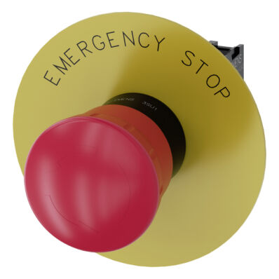 Ilustrație: Siemens EMERGENCY STOP mushroom pushbutton, 22 mm, round, plastic, red, 40 mm, latching, positive latching, Rotate-to-unlatch, with yellow backing plate, inscription: EMERGENCY STOP, with holder, 1 NC, screw terminal
