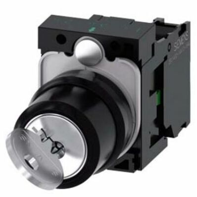 Ilustrație: Siemens RONIS key-operated switch, 22 mm, round, plastic, lock number SB30, with 2 keys, 2 switch positions O-I, latching, 10:30h/13:30h, key removal O+I, with holder, 1 NO, screw terminal, possible special locks: SB31, 421, 455
