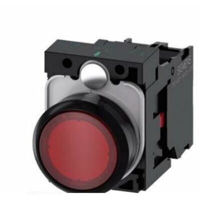 Ilustrație: Siemens Illuminated pushbutton, 22 mm, round, plastic, red, pushbutton, flat, momentary contact type, with holder, 1 NC, LED module with integrated LED 24 V AC/DC, screw terminal