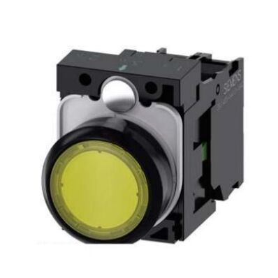 Ilustrație: Siemens Illuminated pushbutton, 22 mm, round, plastic, yellow, pushbutton, flat, momentary contact type, with holder, 1 NO, LED module with integrated LED 24 V AC/DC, screw terminal