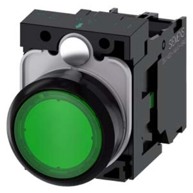 Ilustrație: Siemens Illuminated pushbutton, 22 mm, round, plastic, green, pushbutton, flat, momentary contact type, with holder, 1 NO, LED module with integrated LED 24 V AC/DC, screw terminal