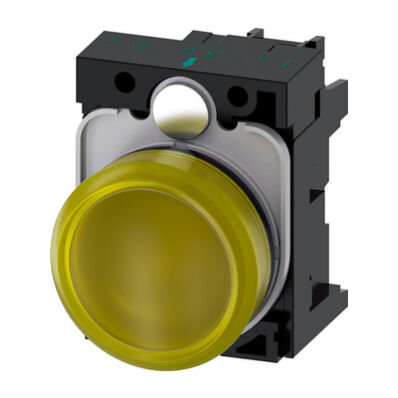 Ilustrație: Siemens Indicator lights, 22 mm, round, plastic, yellow, lens, smooth, with holder, LED module, with integrated LED 24 V AC/DC, screw terminal
