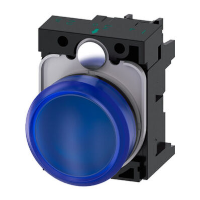 Ilustrație: Siemens Indicator lights, 22 mm, round, plastic, blue, lens, smooth, with holder, LED module, with integrated LED 24 V AC/DC, screw terminal