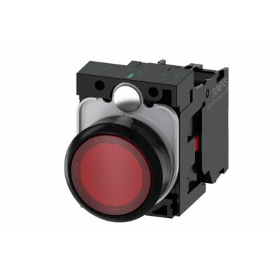 Ilustrație: Siemens Illuminated pushbutton, 22 mm, round, plastic, red, pushbutton, flat, momentary contact type, with holder, 1 NC, LED module with integrated LED 230 V AC, screw terminal