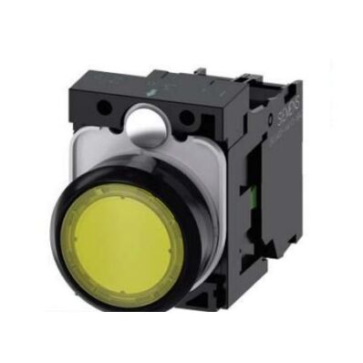 Ilustrație: Siemens Illuminated pushbutton, 22 mm, round, plastic, yellow, pushbutton, flat, momentary contact type, with holder, 1 NO, LED module with integrated LED 230 V AC, screw terminal