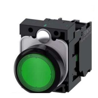 Ilustrație: Siemens Illuminated pushbutton, 22 mm, round, plastic, green, pushbutton, flat, momentary contact type, with holder, 1 NC, LED module with integrated LED 230 V AC, screw terminal