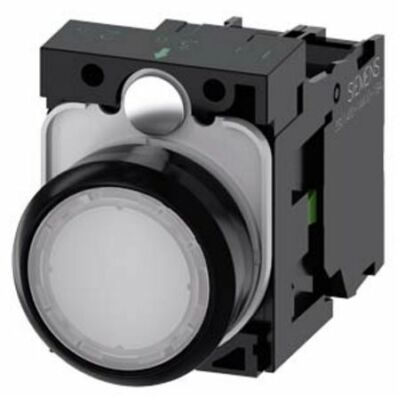 Ilustrație: Siemens Illuminated pushbutton, 22 mm, round, plastic, white, pushbutton, flat, momentary contact type, with holder, 1 NC, LED module with integrated LED 230 V AC, screw terminal