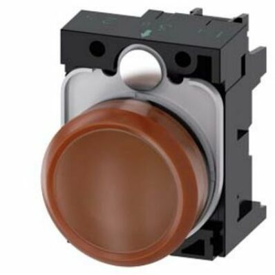 Ilustrație: Siemens Indicator lights, 22 mm, round, plastic, amber, lens, smooth, with holder, LED module, with integrated LED 230 V AC, screw terminal