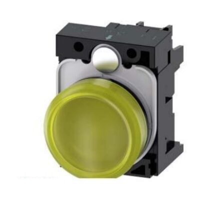 Ilustrație: Siemens Indicator lights, 22 mm, round, plastic, yellow, lens, smooth, with holder, LED module, with integrated LED 230 V AC, screw terminal