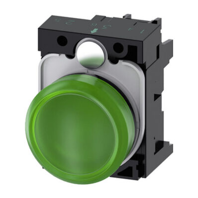 Ilustrație: Siemens Indicator lights, 22 mm, round, plastic, green, lens, smooth, with holder, LED module, with integrated LED 230 V AC, screw terminal