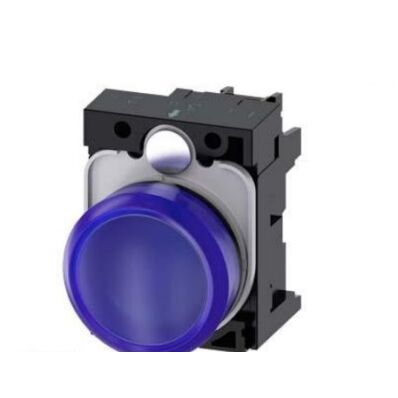 Ilustrație: Siemens Indicator lights, 22 mm, round, plastic, blue, lens, smooth, with holder, LED module, with integrated LED 230 V AC, screw terminal
