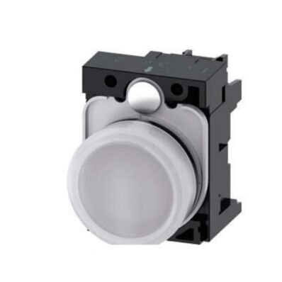 Ilustrație: Siemens Indicator lights, 22 mm, round, plastic, white, lens, smooth, with holder, LED module, with integrated LED 230 V AC, screw terminal