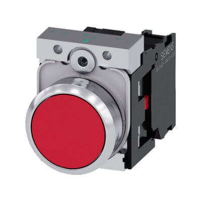 Ilustrație: Siemens Pushbutton, 22 mm, round, metal, shiny, red, pushbutton, flat, momentary contact type, with holder, 1 NC, screw terminal
