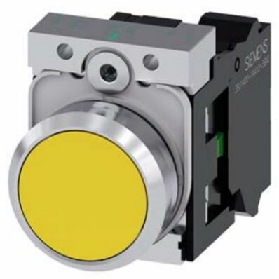 Ilustrație: Siemens Pushbutton, 22 mm, round, metal, shiny, yellow, pushbutton, flat, momentary contact type, with holder, 1 NC, screw terminal