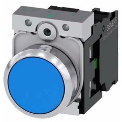 Ilustrație: Siemens Pushbutton, 22 mm, round, metal, shiny, blue, pushbutton, flat, momentary contact type, with holder, 1 NC, screw terminal