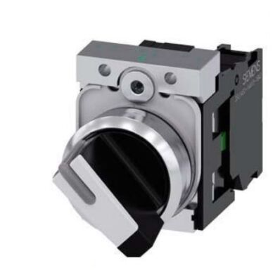 Ilustrație: Siemens Selector switch, illuminable, 22 mm, round, metal, shiny, white, selector switch, short, 2 switch positions O-I, latching, actuating angle 90°, 10:30h/13:30h, with holder, 1 NO, screw terminal