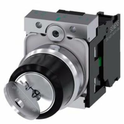 Ilustrație: Siemens RONIS key-operated switch, 22 mm, round, metal, shiny, lock number SB30, with 2 keys, 2 switch positions O-I, latching, actuating angle 90°, 10:30h/13:30h, key removal O+I, with holder, 1 NO, screw terminal, possible special locks: 3SB