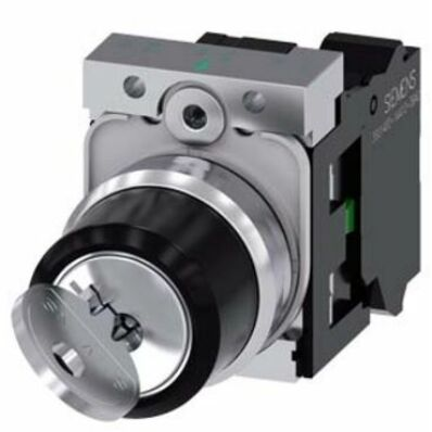 Ilustrație: Siemens RONIS key-operated switch, 22 mm, round, metal, shiny, lock number SB30, with 2 keys, 2 switch positions O-I, latching, actuating angle 90°, 10:30h/13:30h, key removal O+I, with holder, 1 NO, spring-type terminal, possible special lock