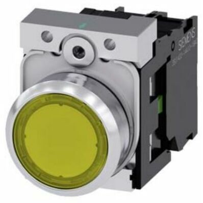 Ilustrație: Siemens Illuminated pushbutton, 22 mm, round, metal, shiny, yellow, pushbutton, flat, momentary contact type, with holder, 1 NC, LED module with integrated LED 24 V AC/DC, screw terminal