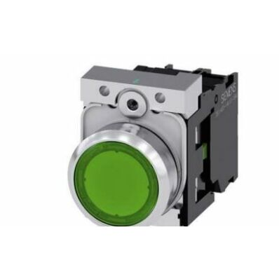 Ilustrație: Siemens Illuminated pushbutton, 22 mm, round, metal, shiny, green, pushbutton, flat, momentary contact type, with holder, 1 NC, LED module with integrated LED 24 V AC/DC, screw terminal
