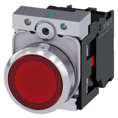 Ilustrație: Siemens Illuminated pushbutton, 22 mm, round, metal, shiny, red, pushbutton, flat, momentary contact type, with holder, 1 NO, LED module with integrated LED 230 V AC, screw terminal