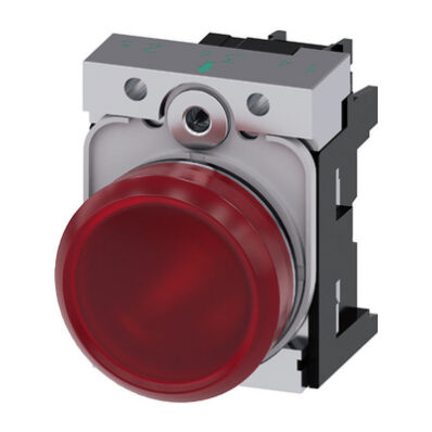 Ilustrație: Siemens Indicator lights, 22 mm, round, metal, shiny, red, lens, smooth, with holder, LED module with integrated LED 230 V AC, screw terminal