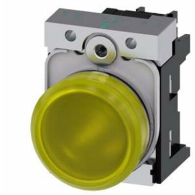 Ilustrație: Siemens Indicator lights, 22 mm, round, metal, shiny, yellow, lens, smooth, with holder, LED module with integrated LED 230 V AC, screw terminal