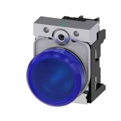 Ilustrație: Siemens Indicator lights, 22 mm, round, metal, shiny, blue, lens, smooth, with holder, LED module with integrated LED 230 V AC, screw terminal
