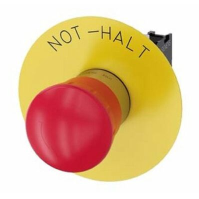 Ilustrație: Siemens EMERGENCY STOP mushroom pushbutton, 22 mm, round, metal, shiny, red, 40 mm, latching, Rotate-to-unlatch, with yellow backing plate, inscription: EMERGENCY STOP, with holder, 1 NC, screw terminal